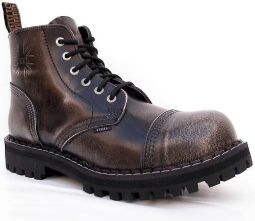 4f4f2eb5dcd STEEL Boots Boty Steel 6-dírkové - bílé stírané - Glami.cz