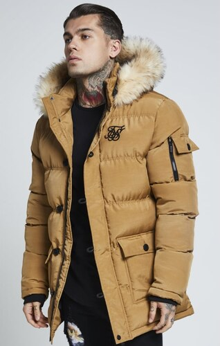 SIK SILK Pánska hnedá bunda na zimu SikSilk Puff Parka - Glami.sk c24ac4714fa
