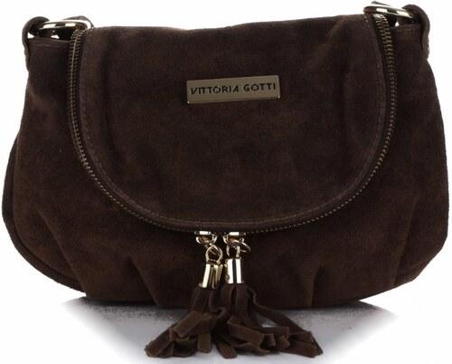 Vittoria Gotti Kožená kabelka listonoška čokoláda - Glami.cz 54a7320f5a4
