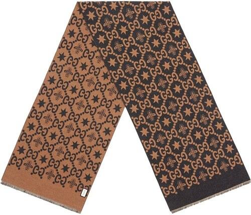 630e8ec08 Gucci Bees and stars GG jacquard scarf - Brown - Glami.sk