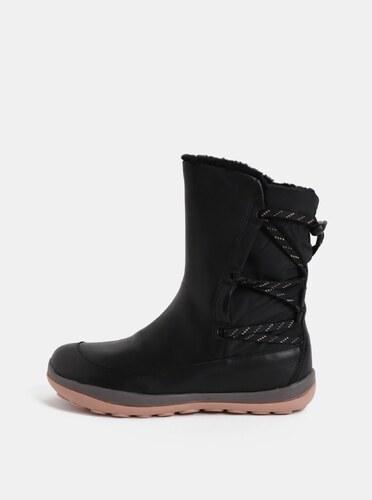 b37e720cbb Čierne dámske kožené členkové topánky s vnútornou umelou kožušinkou Camper  Peu Pista