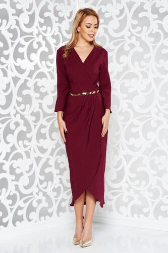 aadfa704b7 StarShinerS Burgundy elegáns ruha enyhén rugalmas szövet belső béléssel öv  típusú kiegészítővel