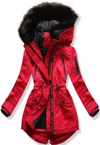 MODOVO Dámska zimná bunda s kapucňou PO-301 červená - Glami.sk b3206f31a85