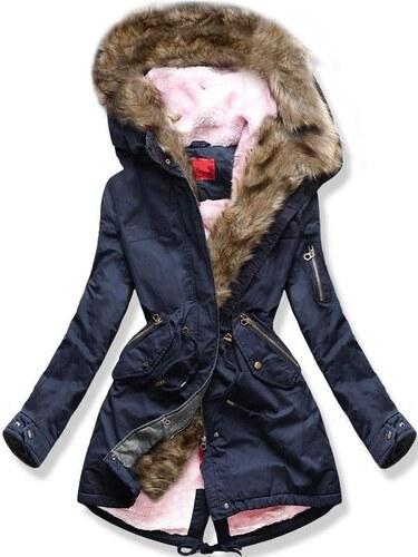 MODOVO Női téli kabát kapucnival B-735 sötétkék - Glami.hu 3f76d23b0c