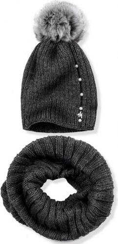 2a9abcec1624 Trendovo Grafitový zimný set čiapka a šál - Glami.sk