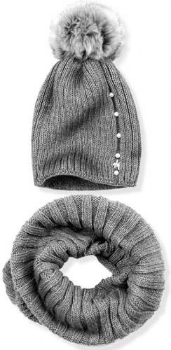 d4c55f58bd54 Trendovo Tmavosivý zimný set čiapka a šál - Glami.sk