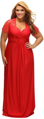 563649d275f6 ZAZZA Dlhé červené spoločenské šaty s krajkou na rukávoch - Glami.sk