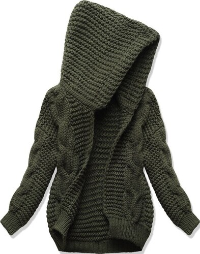 281de3499993 Dámsky sveter s kapucňou SWEK khaki - Glami.sk