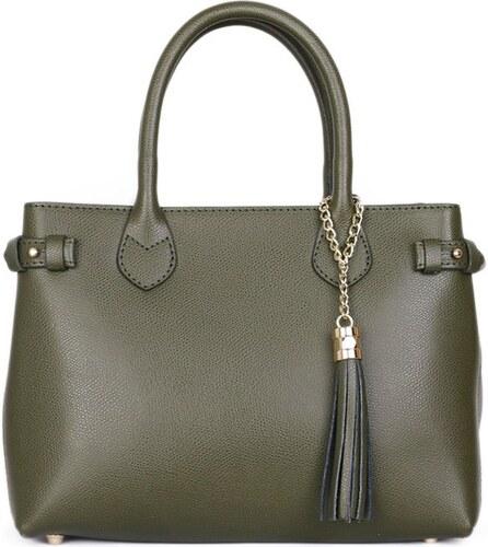 ITALSKÉ Trendové dámské kožené kabelky zelené Pisas f885350048