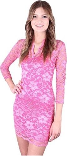 2167e21fd07e Ružové čipkované šaty s V výstrihom G0045 PINKRESIZE - Glami.sk