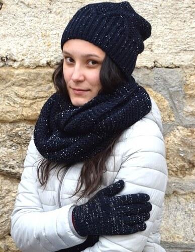 Margot bis Tmavě modrý dámský zimní set - čepice 7b435e8de2