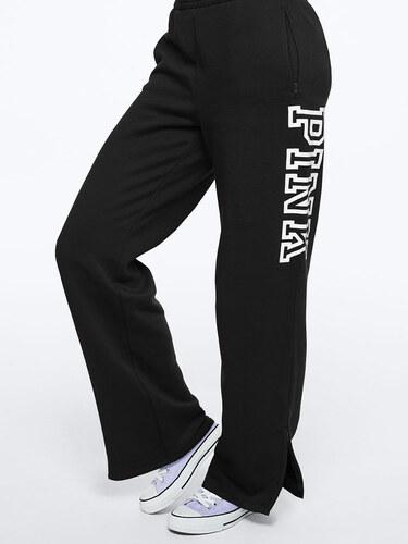 Dámské tepláky Victoria s Secret PINK OPEN LEG FLEECE TRACK PANT černé 0067a4237e