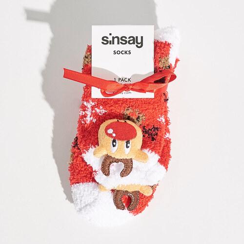 Sinsay - Vánoční ponožky s motivem sobů - Červená - Glami.cz a366dfd2a5