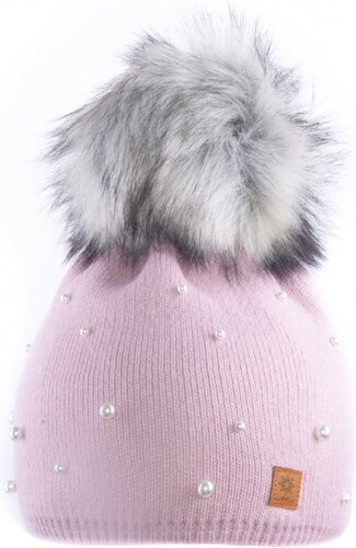 Woolk Zimní čepice s bambulí a perličkami e601 pink - Glami.cz 61d55d79a2