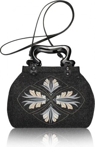GOSHICO - Plstěná vyšívaná kufříková kabelka do ruky a přes rameno (menší)  DESTINY - 1283 2ebc7aec768