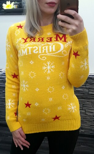 Dámský hořčicový vánoční svetr 70% vlny Merry Christmas - Glami.cz 541d271f45