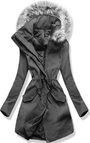 MODOVO Dlhý dámsky kabát s kapucňou 22172 grafitový - Glami.sk 071c331edd2