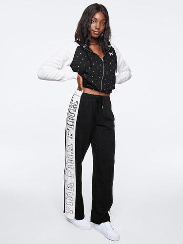 Dámské tepláky Victoria s Secret PINK ONLINE EXCLUSIVE! SEQUIN BLING  BOYFRIEND PANT černé 935f8a7bd9