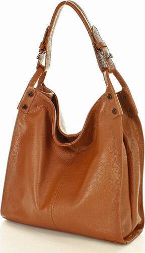 88f048e6abd Hnedá kožená kabelka vera pelle MAZZINI - Havana camel (s169d ...