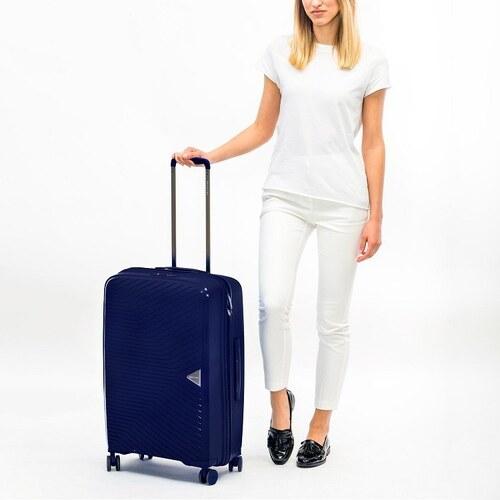 b1514f6b02 Puccini stredný 65 litrový cestovný kufor 4 kolieska zámok TSA modrý PP014B  7A
