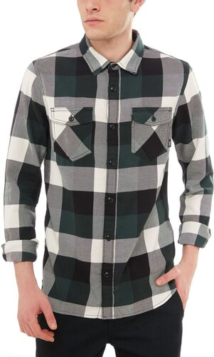 vans Pánská košile box flannel darkest spruce natural L - Glami.cz b94ab1b2b0