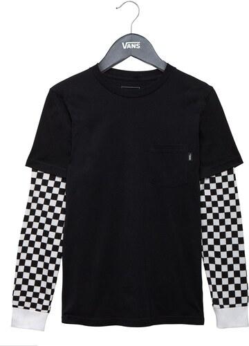 vans Dětské triko boys checker sleeve black checker M - Glami.cz 0ecf86c399