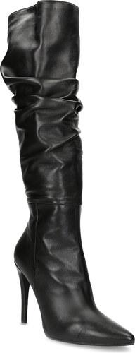 Baťa Kožené čierne čižmy na ihličkovom podpätku - Glami.sk c60dd7de04e