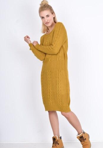 32528f09aa53 BASIC Hořčicové pletené šaty - S028 - Glami.cz