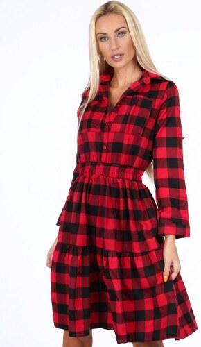 Fasardi Čierno-červené kockované dámske šaty - Glami.sk 591a20f4342