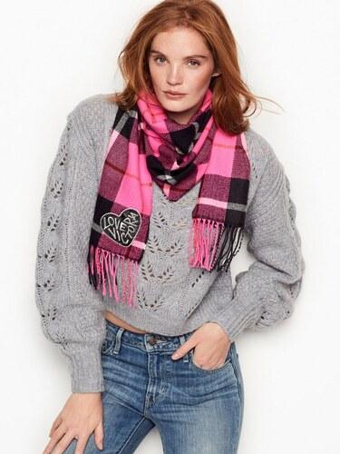 99fc99730c9 Victoria´s Secret lehká zimní šála Angel heart pink plaid - Glami.cz