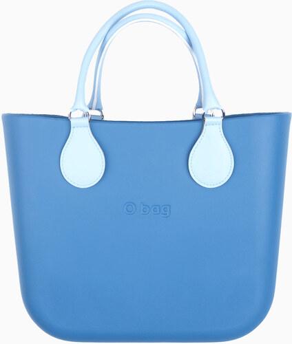 O bag modrá kabelka MINI Cobalto s bílými krátkými koženkovými držadly 24d4e824972