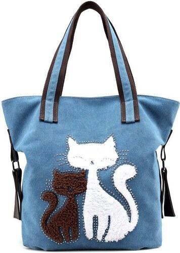 196a5aa26b Lifestyle Dámská plátěná kabelka Cute Cats Modrá - Glami.cz