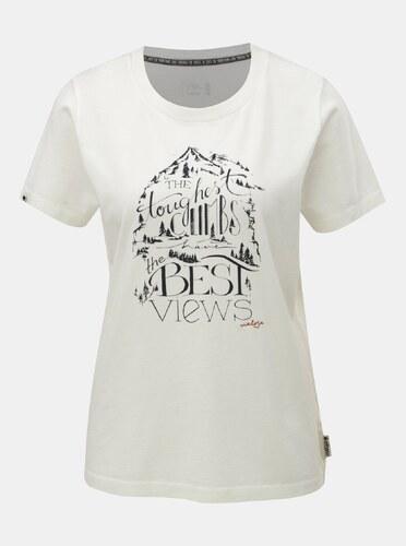 -40% Krémové dámske tričko s potlačou a krátkym rukávom Maloja Orlegna 29a51f5554