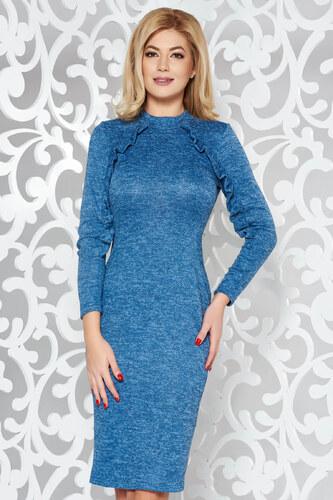 6d36fbf1ef Kék StarShinerS hétköznapi ruha szűk szabás kötött anyag fodros ...