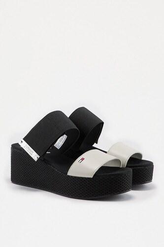 f17f3b58898990 Tommy Jeans Sandále - TOMMY HILFIGER MATERIAL MIX FLATFORM SANDAL čierne