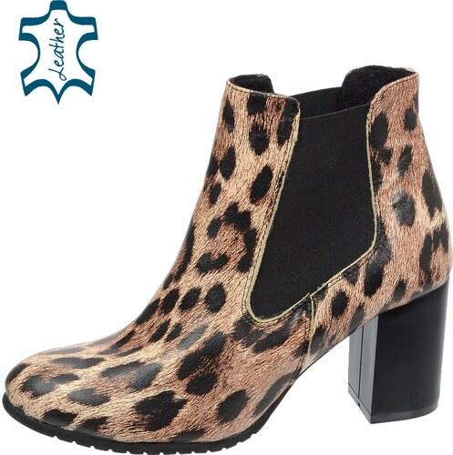 dd2e9970ab -30% OLIVIA SHOES Kotníkové čižmy na vyššom podpätku s leopardím vzorom  K-741