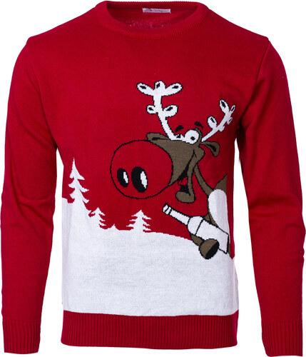 1761f48bc49 Swetry Swiateczne Pánský vánoční svetr se sobem Drunk Reindeer červený