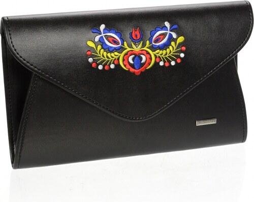 Čierna matná spoločenská listová kabelka s foklórnym vzorom SP102 GROSSO b5466fa4948