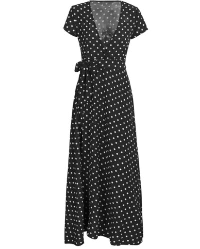 b29ec49ad28 Perfect Maxi dlouhé šaty s puntíky a hlubokým výstřihem - Glami.cz