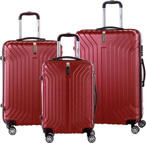 51f3783a03136 Sada 3 červených cestovných kufrov na kolieskách so zámkom SINEQUANONE