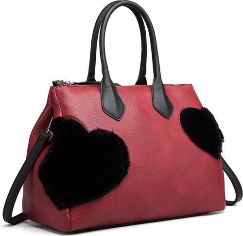 08c47daa66a76 Lulu Bags (Anglie) Moderná červená kabelka so semišovou dekoráciou Miss Lulu