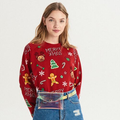 Sinsay - Mikina s celoplošnou vianočnou potlačou - Červená 77a23472973