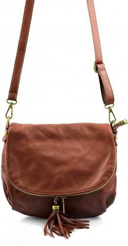 -15% -22% Kožená větší hnědá brown crossbody kabelka na rameno tori VERA  PELLE 21986 fbaf2cf5246