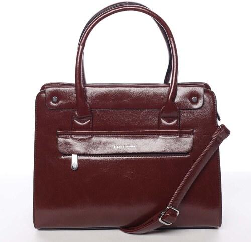 04144751c2 -17% Elegantná pevná dámska kabelka do ruky tmavočervená - Silvia Rosa  Takeon červená