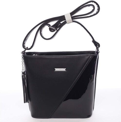 805bf998dc Elegantná dámska čierna pololakovaná crossbody kabelka - Silvia Rosa Seema  čierna