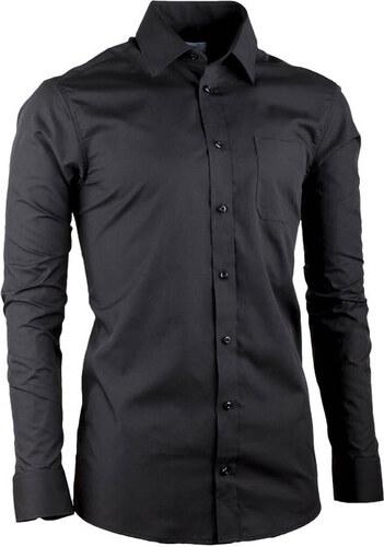 2b6d9d902908 Predĺžená pánska košeľa slim fit čierna Aramgad 20100 - Glami.sk