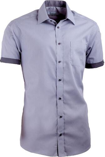 b12cc407e3b4 Sivá pánska košeľa s krátkym rukávom slim fit Aramgad 40139 - Glami.sk