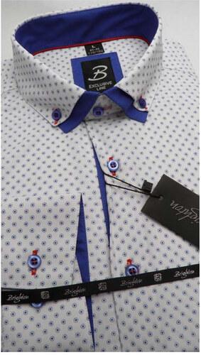 03a8608113de Bílá pánská košile dlouhý rukáv vypasovaný střih Brighton 109959 ...