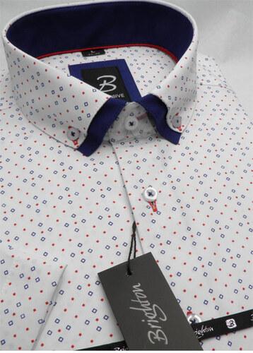 3b9e888bc269 Bielomodrá pánska košeľa s krátkym rukávom rovný strih Brighton 109983