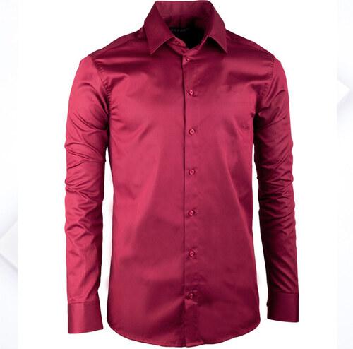 99515a94ea25 Extra predĺžená pánska košeľa slim fit vínovo červená Assante 20314 ...